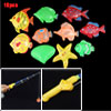 10 pcs Colors Plastic Fishes Sea Fishing Rod Set Toy