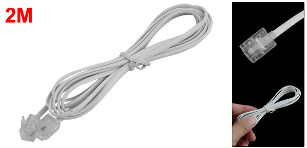 RJ11 6P4C Male to Male Plug Telephone Cable Cord White 6.6ft