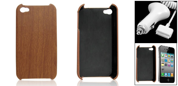 Brown Hard Wood Grain Back Case Plastic for iPhone 4 4G