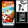 Plastic Hard Multicolor Cover With Car Charger for iPhone 3G