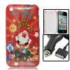 Plastic Christmas Theme Cover + Car Charger for iPhone 3G
