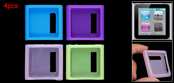 Silicone Skin 4 PCS Cover Case Guard for iPod Nano 6