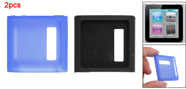 Protective Blue Black 2 PCS Silicone Skin Case for iPod Nano 6