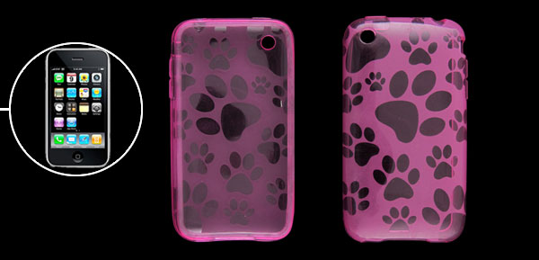 Clear Pink Paw Pattern Soft Plastic Back Protector for iPhone 3G