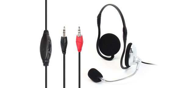3.5mm Black Silver Tone Behind The Neck Headset w Mic