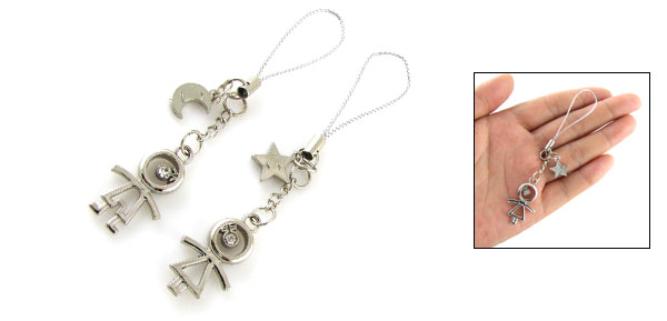 Star Moon Figures Pendant Phone Strap Charms for Lovers