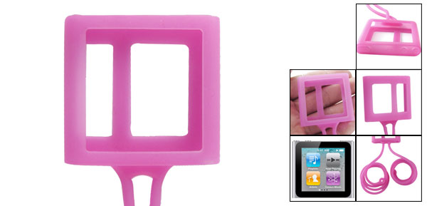 Hot Pink Necklace Design Silicone Case Guard for iPod Nano 6G