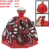 Sequin Butterfly Gauze Metallic Trim Red Strapless Doll Dress