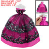 Black Sequin Lace Layer Butterfly Fuchsia Ballgown Dress for Doll
