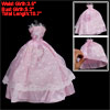 Crochet Lace Flower White Pink Ballgown Spaghetti Girl Doll Dress
