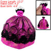 Doll Black Lace Decor Amatanth Strapless Pleat Dress