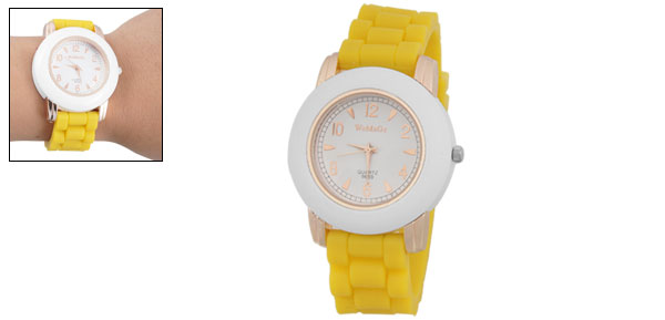 Texture Yellow Silicone Band White Round Dial Lady Wrist Watch