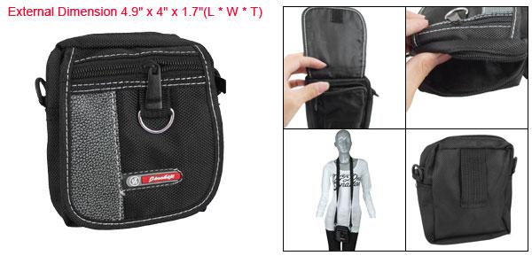 3 Pocket Zippered Digital Camera Shoulder Bag Pouch Blk