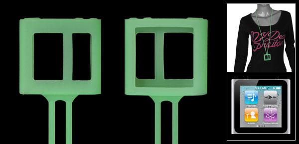 Green Neck Strap Silicone Case Cover for iPod Nano 6G