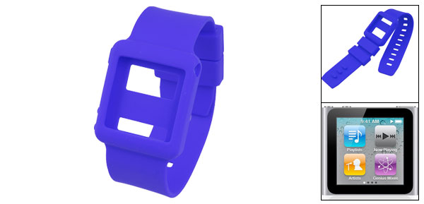 Blue Silicone Skin Sports Wrist Band for iPod Nano 6