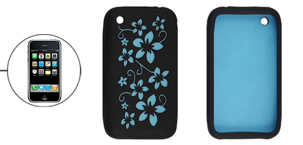 Flower Black Blue Silicone Cover for iPhone 3G 3GS
