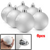 Silver Tone Christmas Pendant Ornament Ball 6 Pieces