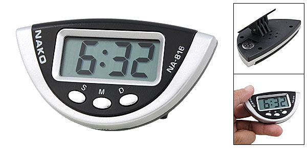 Desk Half Round Silver Tone Black Plastic Case Digital Clock