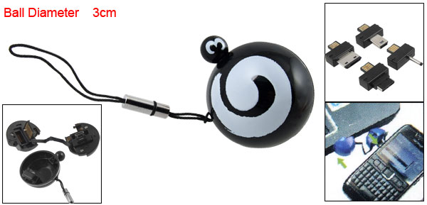 5 in 1 Black Round Ball Strap w Connector for Mobile Phone