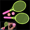 Children Plastic Toy Yellow Badminton Racket w Balls