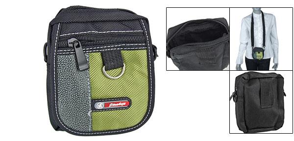 Blk Green 3 Compartment Nylon Phone Digital Camera Bag