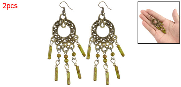 Pair Green Beads Detailing Retro-styled Ear Hook Earrings