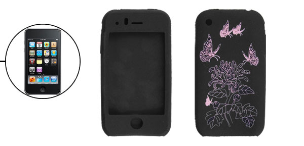 Chrysanthemum Butterfly Print Silicon Skin Case for iPhone 3G