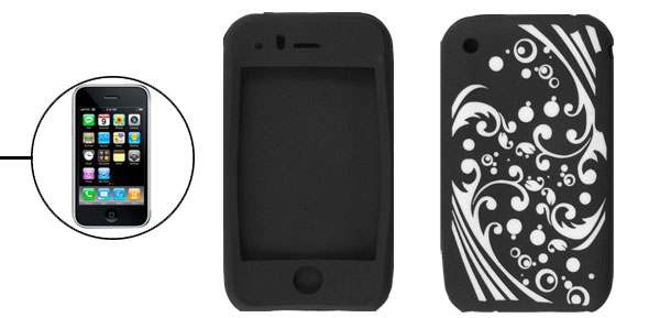 Black White Spoondrift Pattern Silicone Cover for iPhone 3G 3GS