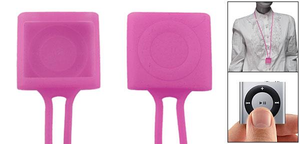 Fuchsia Neck Strap Silicone Skin Cover for iPod Shuffle 4G