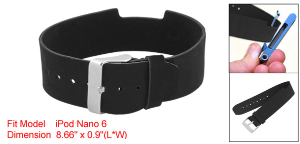 Black PVC Faux Leather Wristband Strap for iPod Nano 6