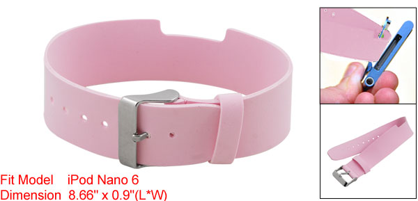 Adjustable Pink PVC Faux Leather Watchband Strap for iPod Nano 6