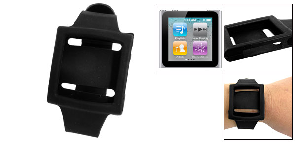Nonslip Band Black Silicone Wrist Strap for iPod Nano 6
