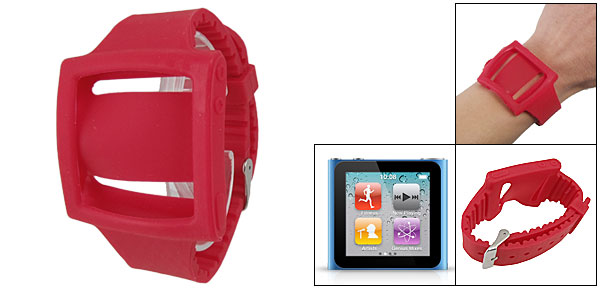Wristwatch Style Red Silicone Strap Case for iPod Nano 6