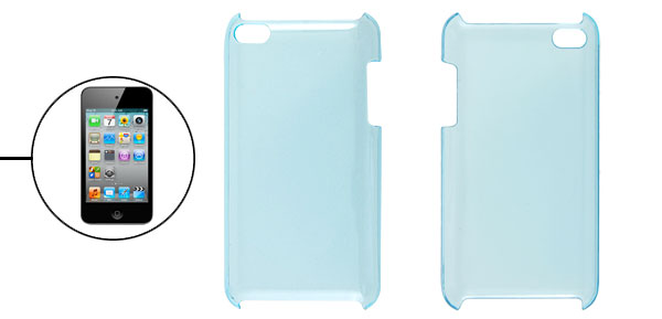 Clear Blue Hard Case Plastic Back Cover for iPod Touch 4G