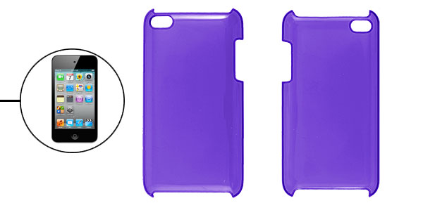 Plastic Back Cover Hard Case Clear Purple for iPod Touch 4G