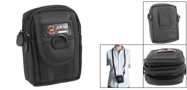 Black Digital Camera Zippered Carrying Bag Belt Pouch