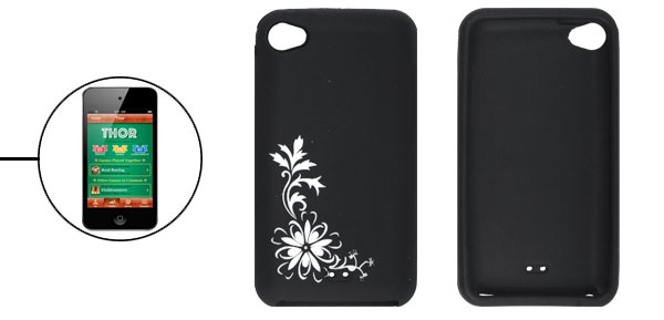 Flower Silicone Skin White Black Cover for iPod Touch 4G