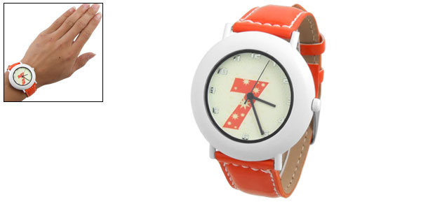 Ladies Faux Leather Band Fluorescent Wrist Watch Orange