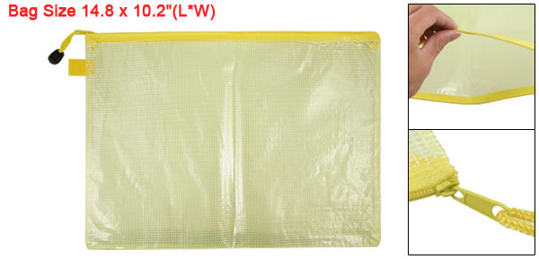 Clear Yellow B4 Size Paper Zippered Closure Files Bag