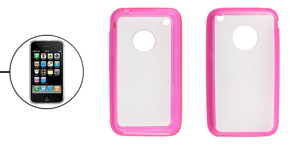 Rose Pink Soft Plastic Side Anti-glare Hard Back Cover for iPhone 3G 3GS