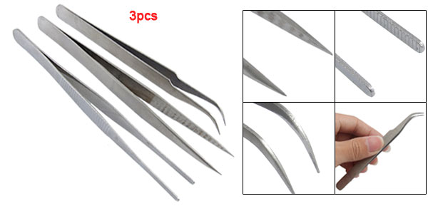 3 Pcs Silver Tone Pointy Flat Straight Curved Tweezers