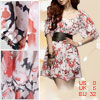 Ladies Scoop Neck Chiffon Flower Half Sleeves Dress XS