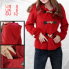 Ladies Red Toggle Button Long Sleeve Worsted Patch...