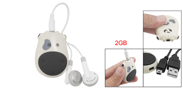 Cartoon Cow Shape Mini 2GB MP3 Music Player w Earphone