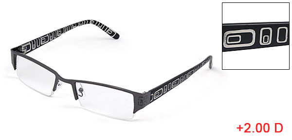 Half Rim +2.00D Clear Rectangle Lens Reading Presbyopic Glasses