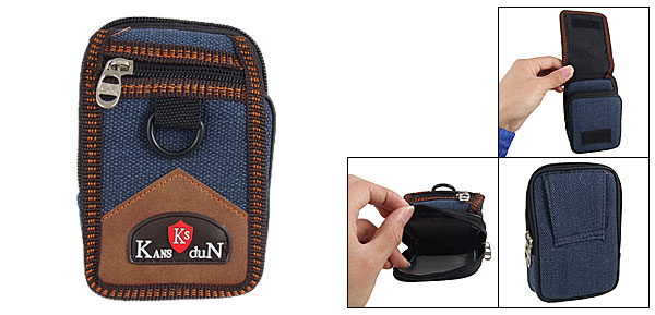 Nylon 3 Pocket Mini Camera Cell Phone Zipper Bag Pouch