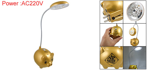 AC220V 2-Pin Plug Pig Light Rechargeable LED Reading Lamp