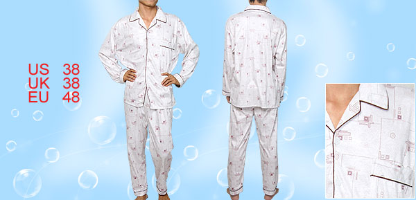 Men M Patch Pocket Long Sleeves Winter Pajamas Nightwear