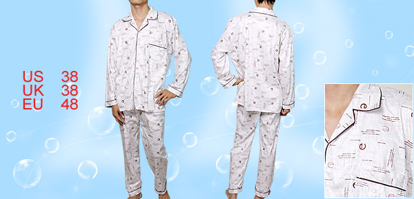 Men Winter Long Sleeves Point Collar 2Pcs-Sleepwear M