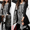 Ladies Smile Faces Printed Scarf Trim Black Open Front Cardigan X...